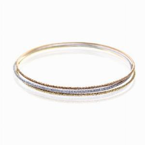 Set Of Three Brilliant Cut Micro Pave Set Bangles